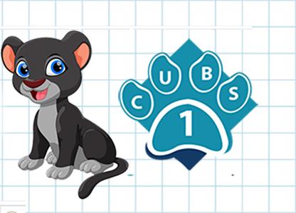 CUBS mascot and badge