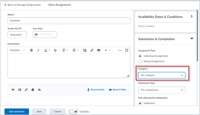The new assignment creation experience with the ability to align assignments to categories