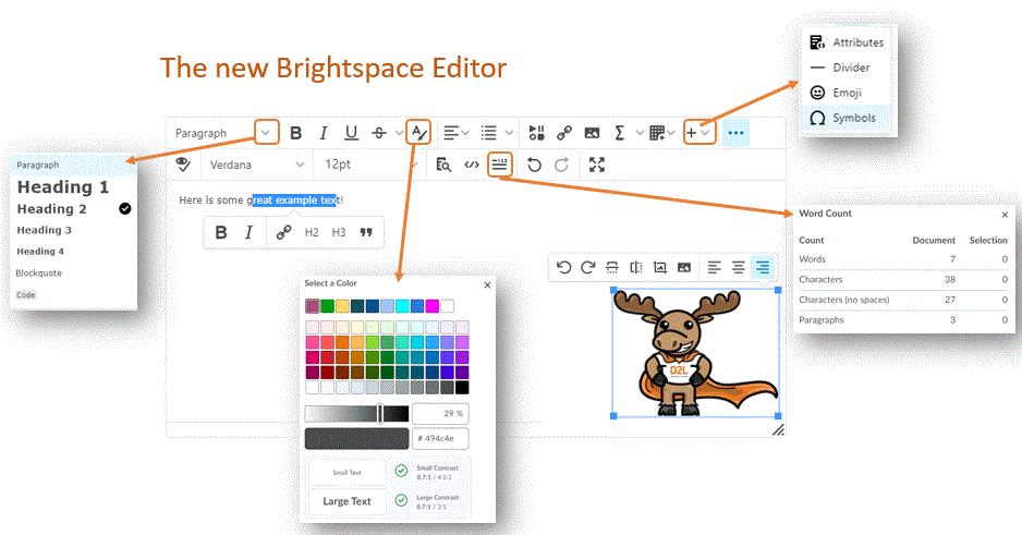 new brightspace editor