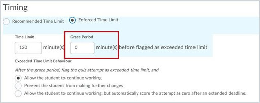 Enter 0 in the Grace Period field that appears with the Enforced Time Limit option for a quiz