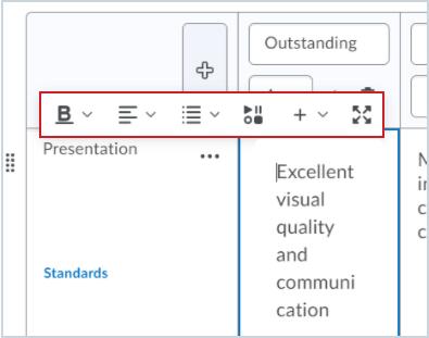 The Brightspace Editor in the Rubrics Description field