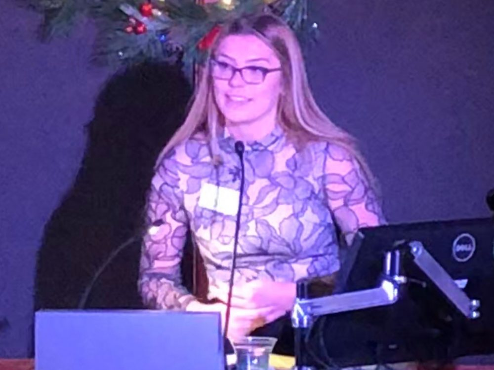 Elsa Ornum speaking at an event