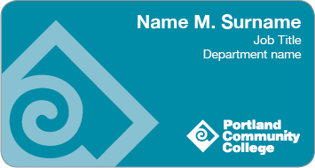 Teal faculty and staff name tag example