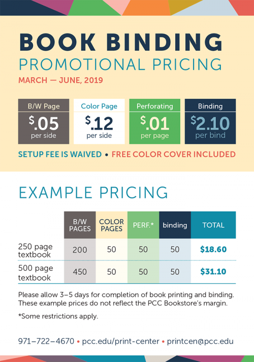 Book binding promotional pricing