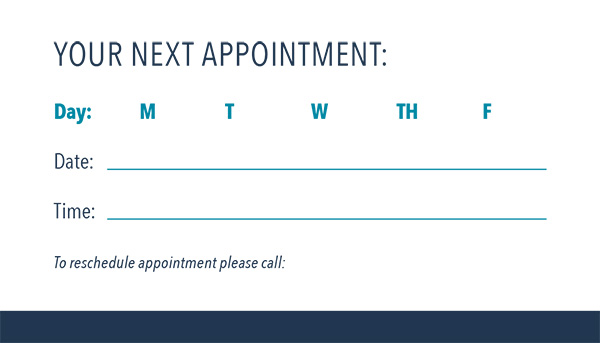 Your next appointment with day, date, and time