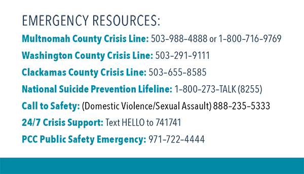 List of emergency resources with phone numbers