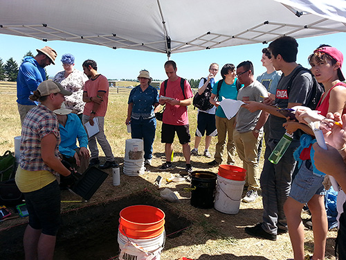 PCC Students visiting PSU's Public Archaeological Field School at Ft. Vancouver Historic Site