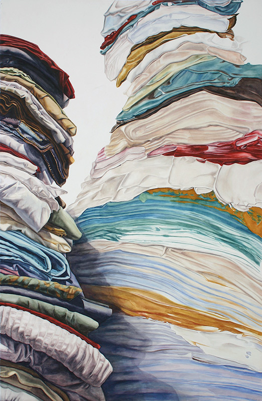 Abstract watercolor painting that looks like pieces of folded cloth stacked on top of each other