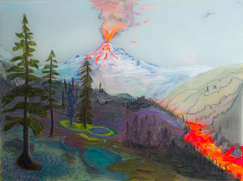 Painting of a volcano erupting
