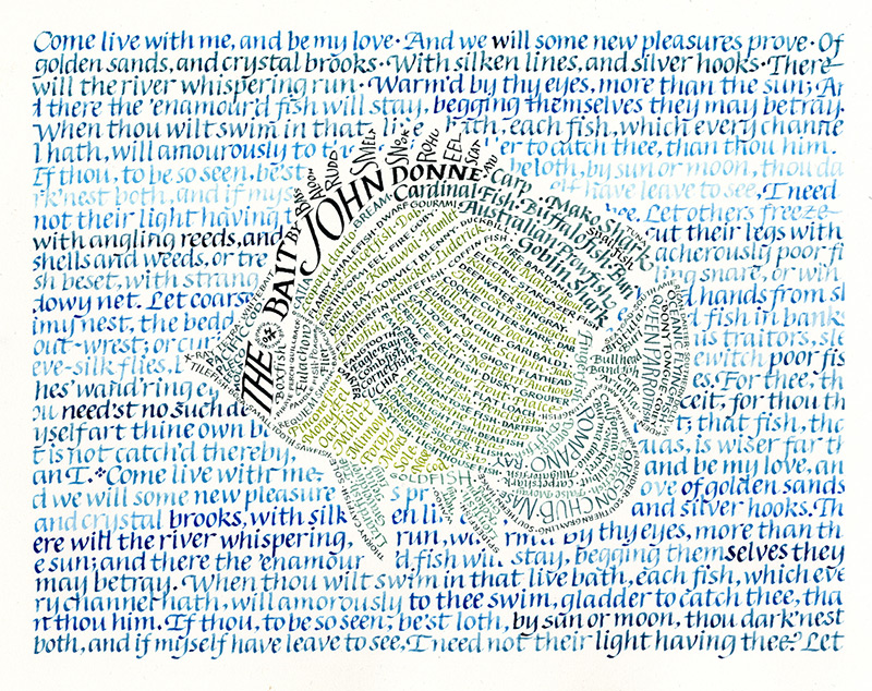 Drawing of a yellow tang fish made out of different-colored words