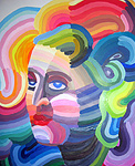 Painting of a person showing colors of the rainbow