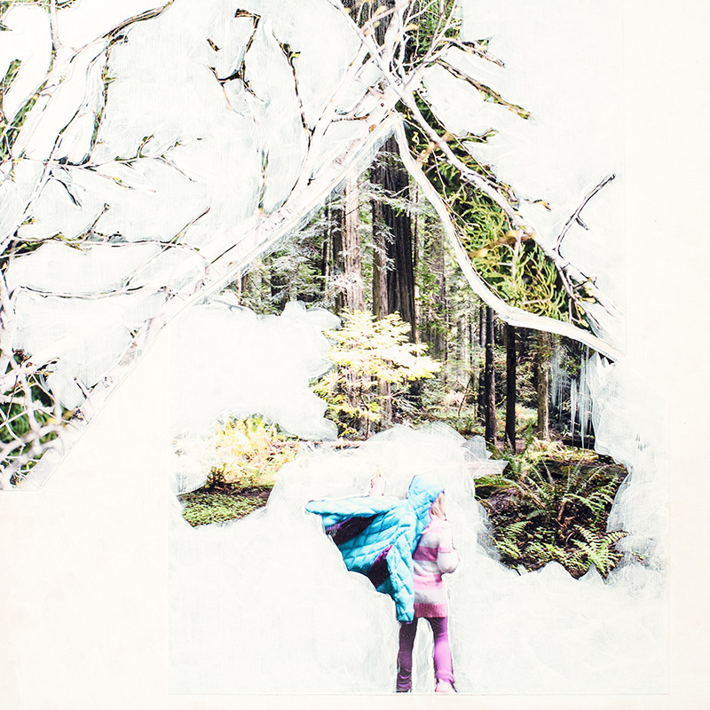 Abstract photograph of a forest and young girl painted over with whitewash