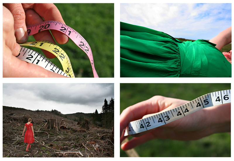 Group of photographs showing tape measures, green cloth, and a landscape