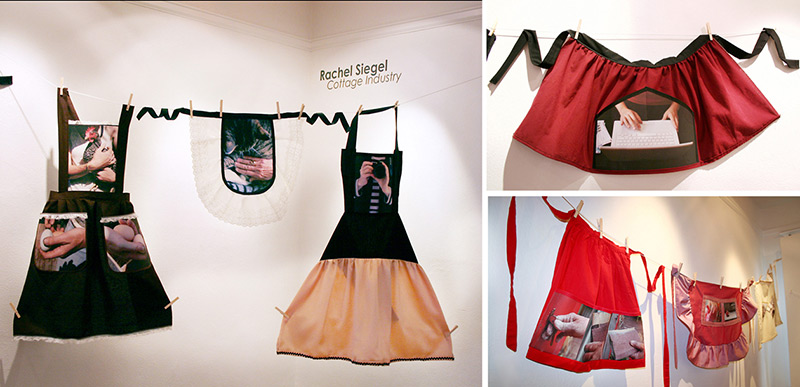 Group of three photographs showing cloth aprons featuring printed photographs hanging in a gallery