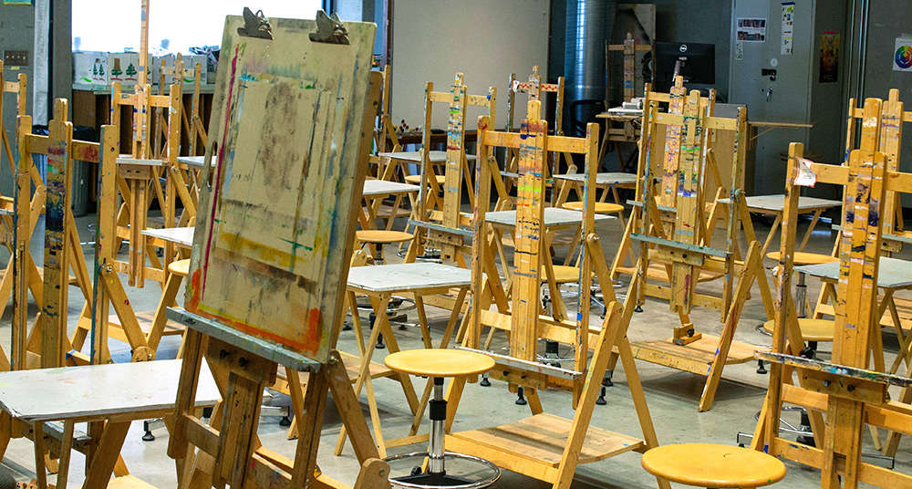 Easels in the painting studio
