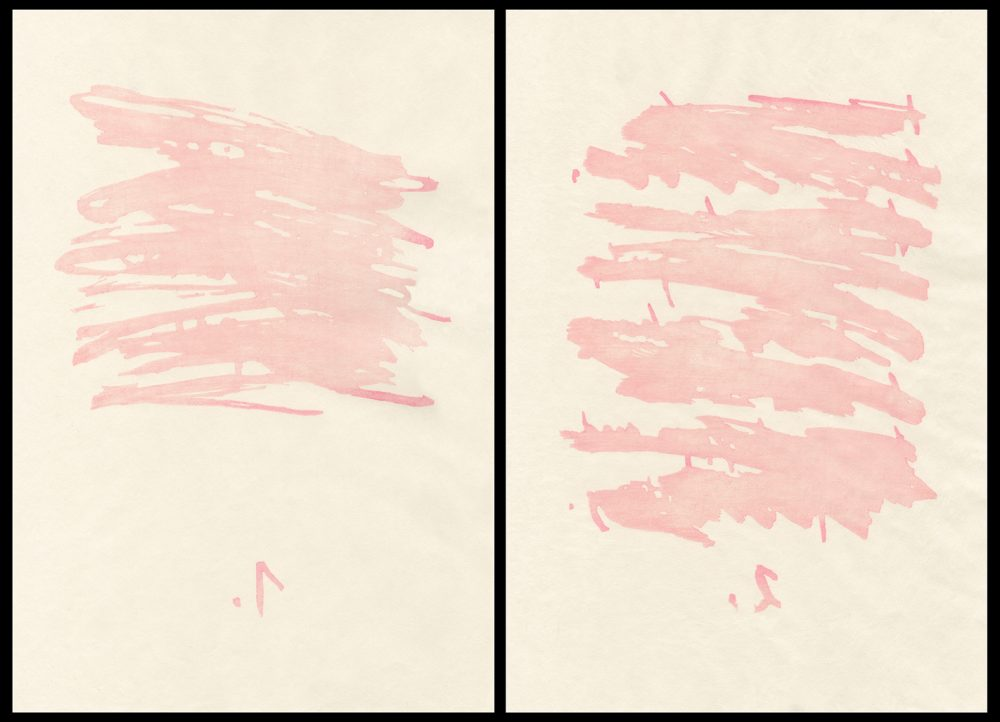 Group of two paintings of squiggles numbered 1 and 2 seen from behind or through the paper