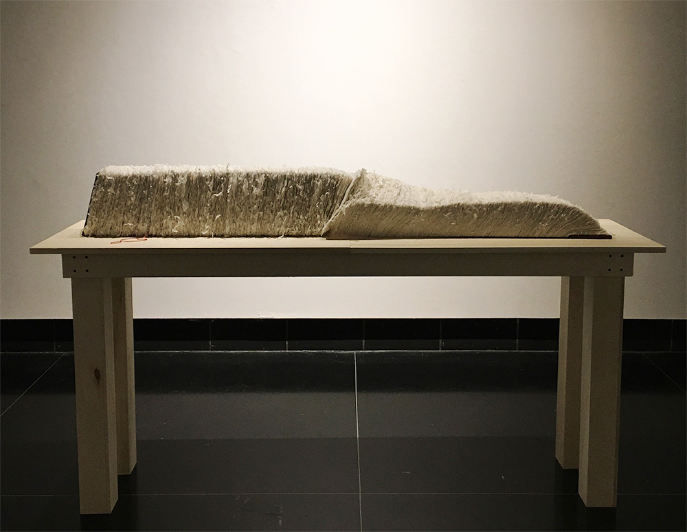 Large, thick handmade book spread out across a table in a gallery