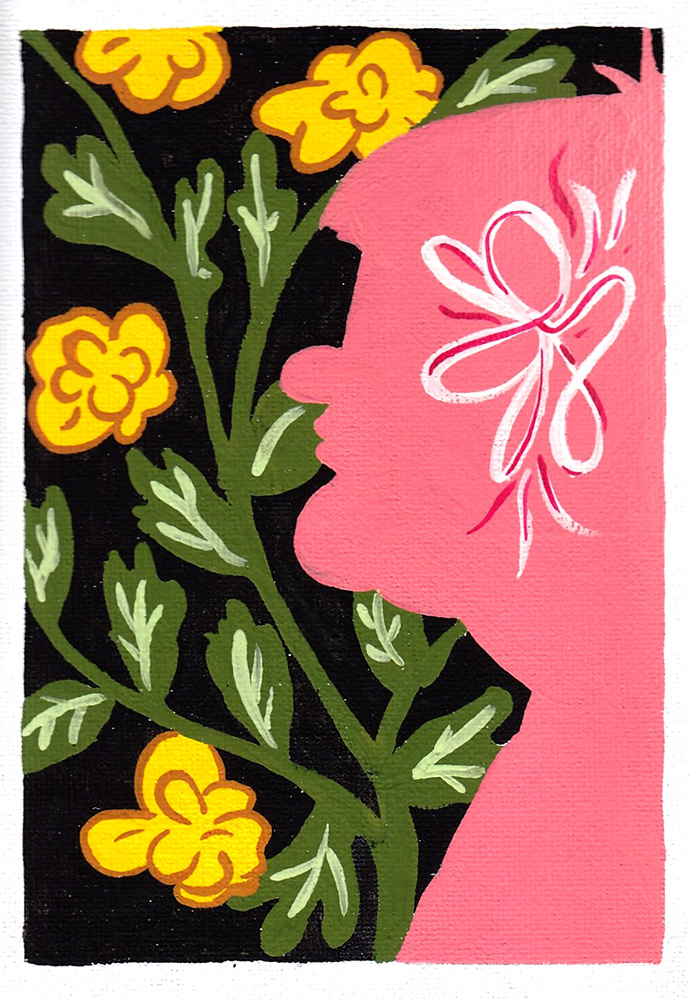 Gouache artwork of a pink silhouetted figure in front of yellow and green flowers over a black background
