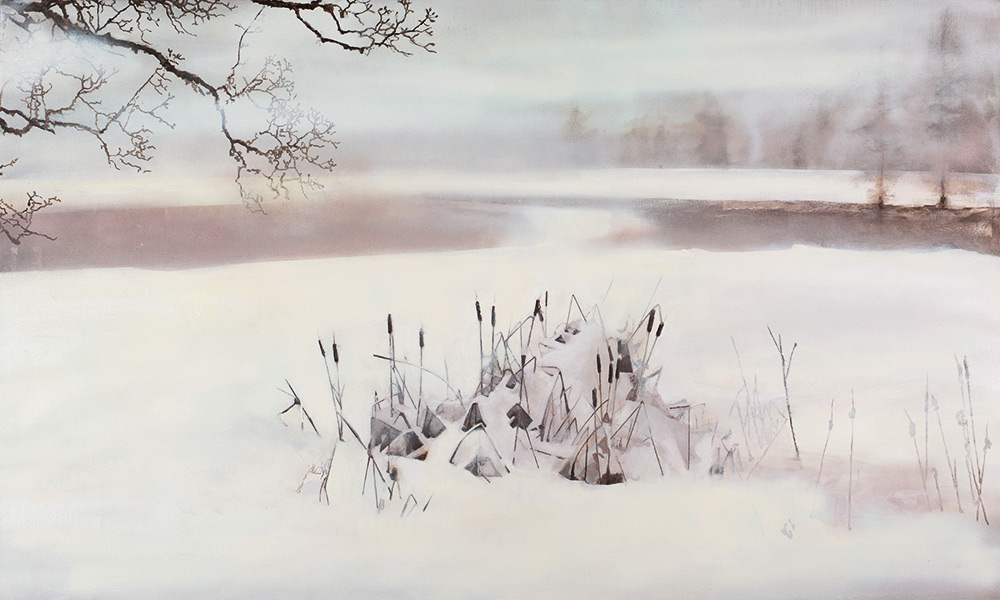 Painting of a frozen pond with cattails in a winter