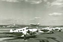 Vintage photograph of airplanes on a runway
