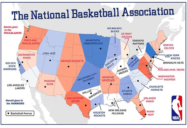 student map sample: national basketball association teams
