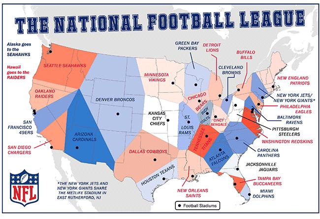 student map sample: national football league teams