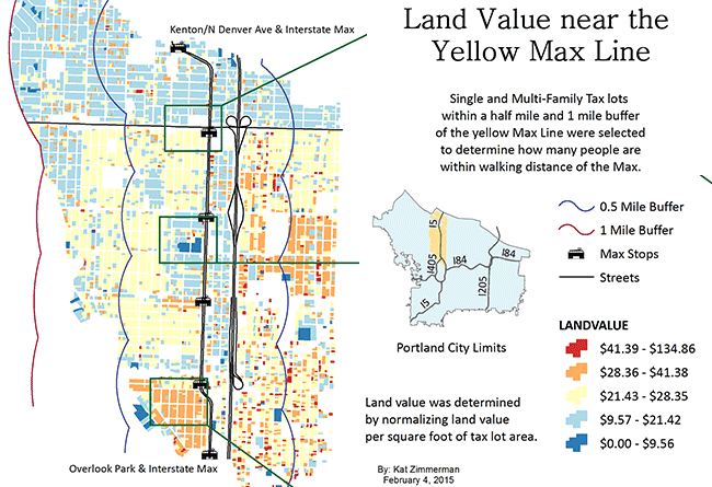 student map sample: yellow line max and house values