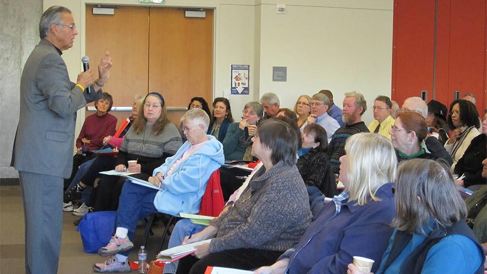 Seniors attending a speaker event