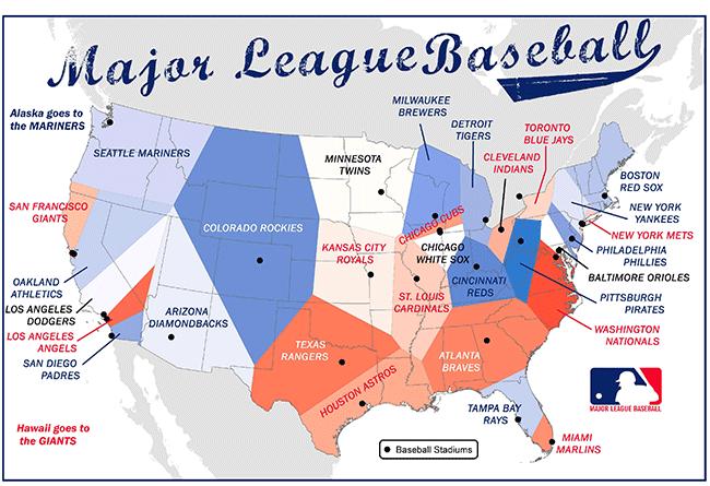 student map sample: major league baseball teams