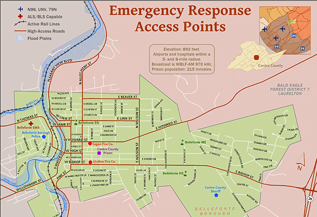 student map sample: emergency response access points