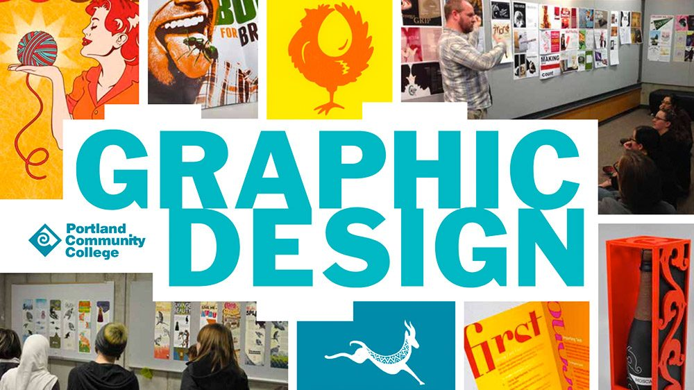 Graphic Design banner with design examples and and photos
