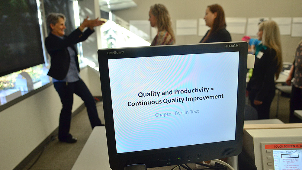 Students doing a group activity behind a computer screen that says 'quality and productivity equals continuous quality improvement'