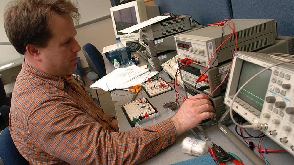 Student working on a project in the lab