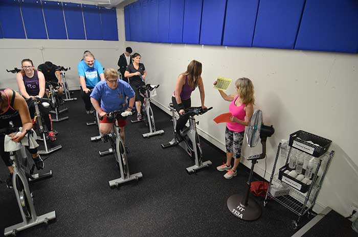 Stationary bike spinning class at Sylvania