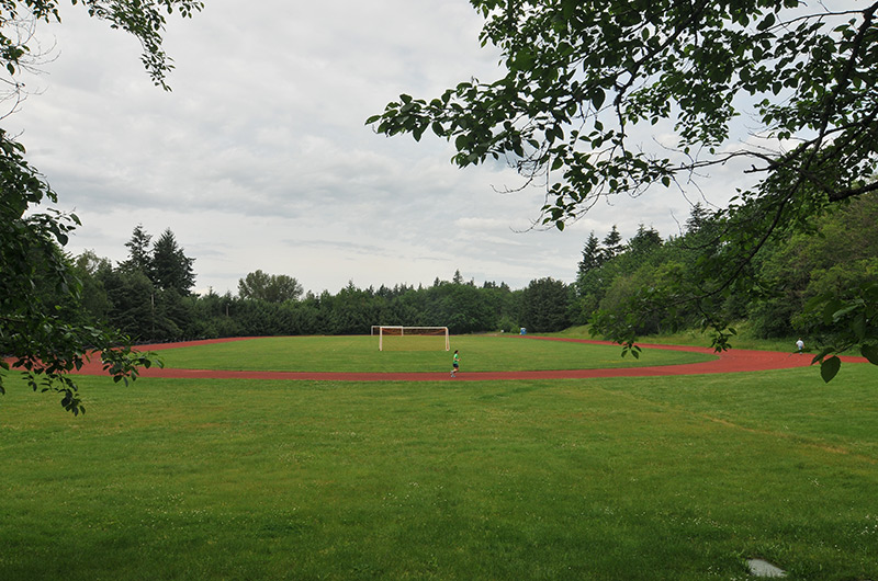 Sylvania outdoor field with soccer goals set up