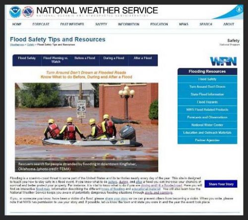 This is an image of the National Weather Service website. It specifically references flood safety tips and resources. This image is also a link. Press Ctrl+Click to access this site.