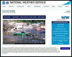 Link to Natinal Weather Service page about Tsunamis