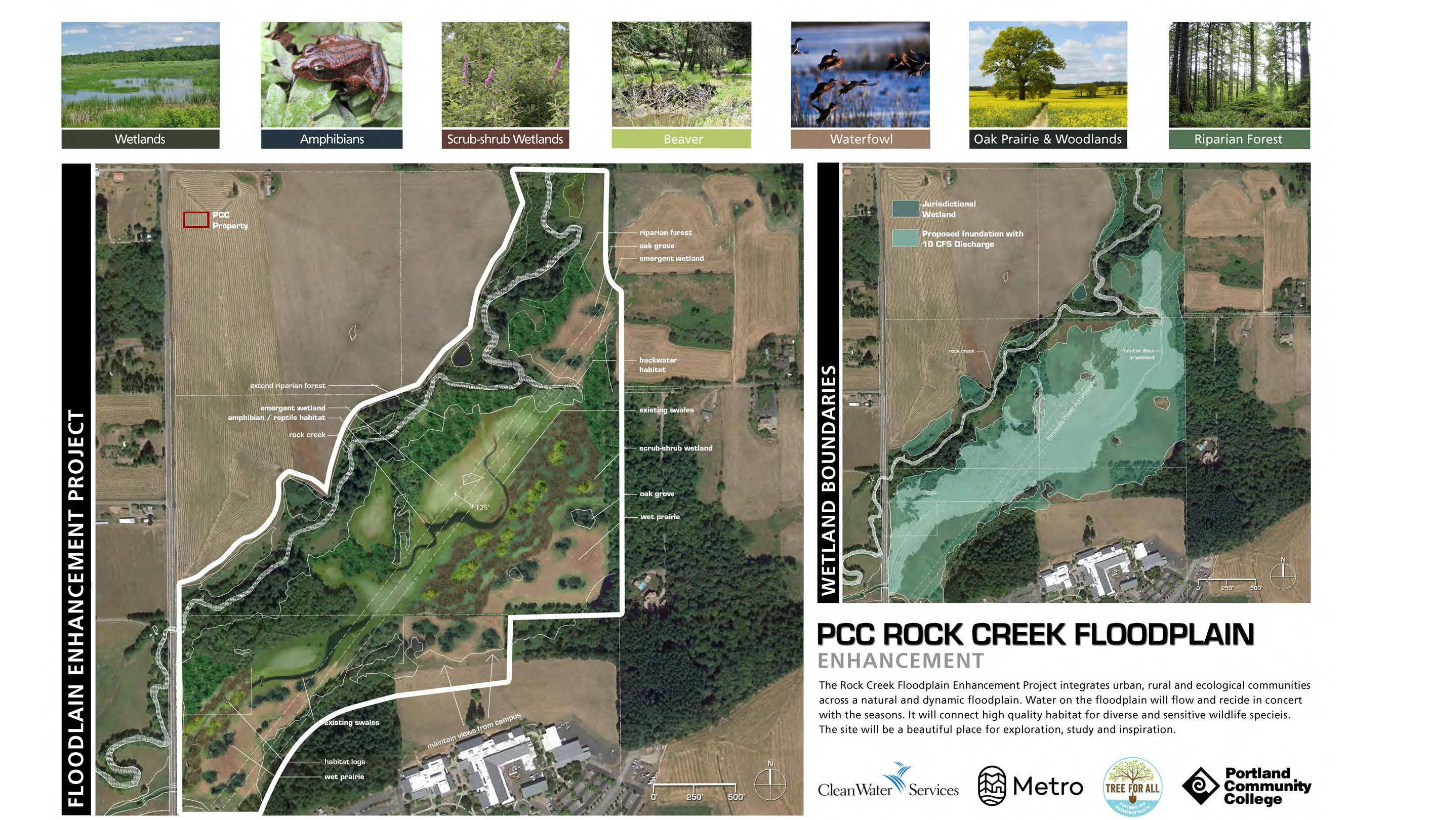 Aerial photo annotated to show desired plant communities in the Rock Creek floodplain