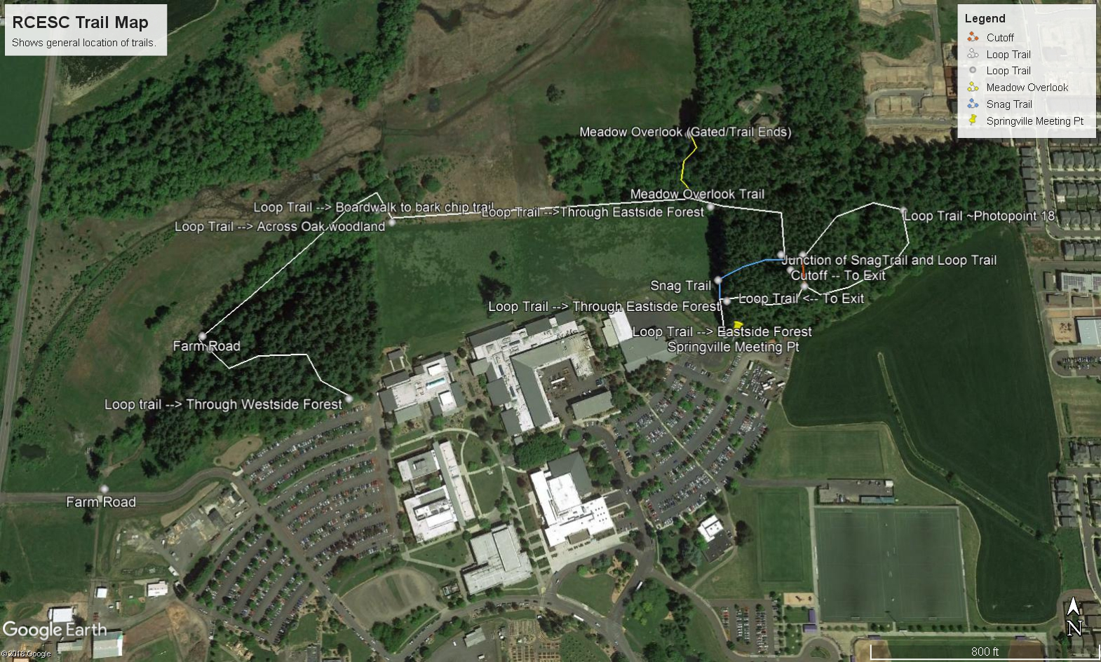 Aerial photo of RCESC with rough outline of trails