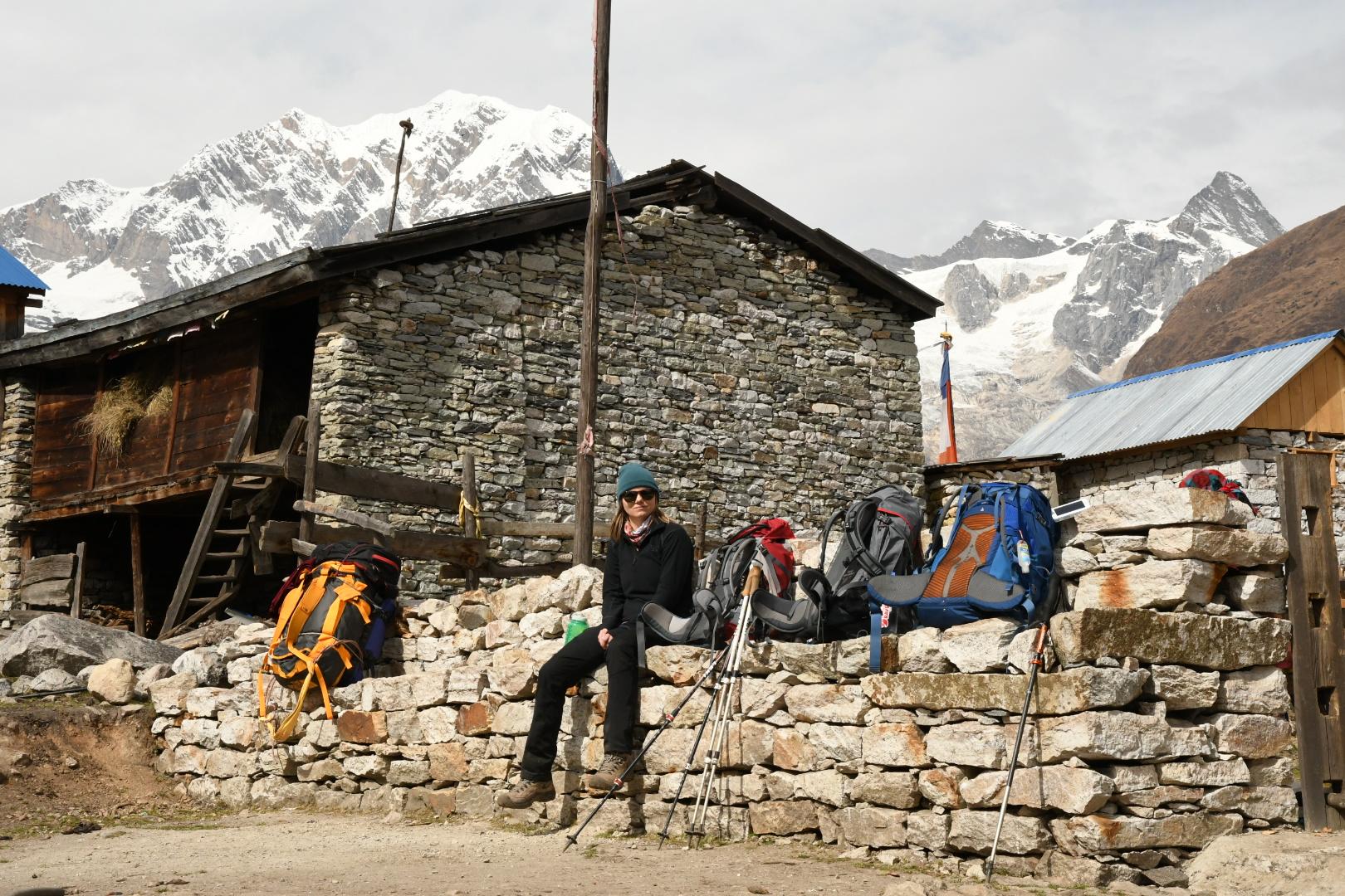 Stacie trekking in Nepal