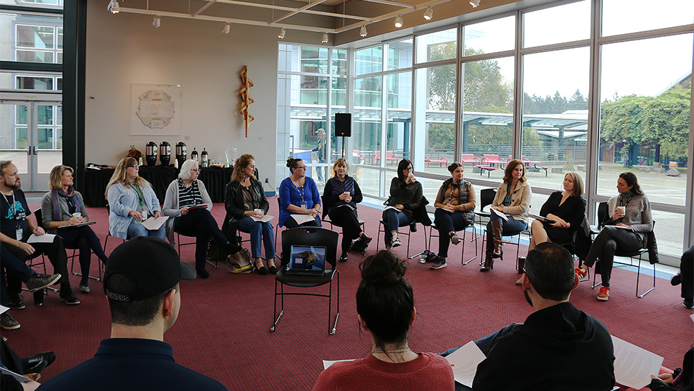 Group forming a circle at a Listening Session