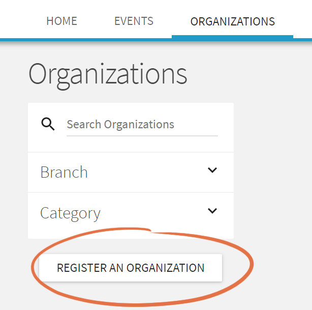 PantherHUB screenshot of register organization button