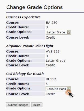 screenshot of change grade options screen showing dropdowns next to classes