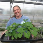 Smiling person carries tray of plant starts in the greenhouse
