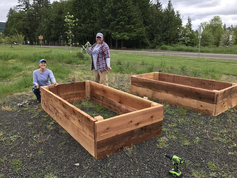 People building raised garden beds