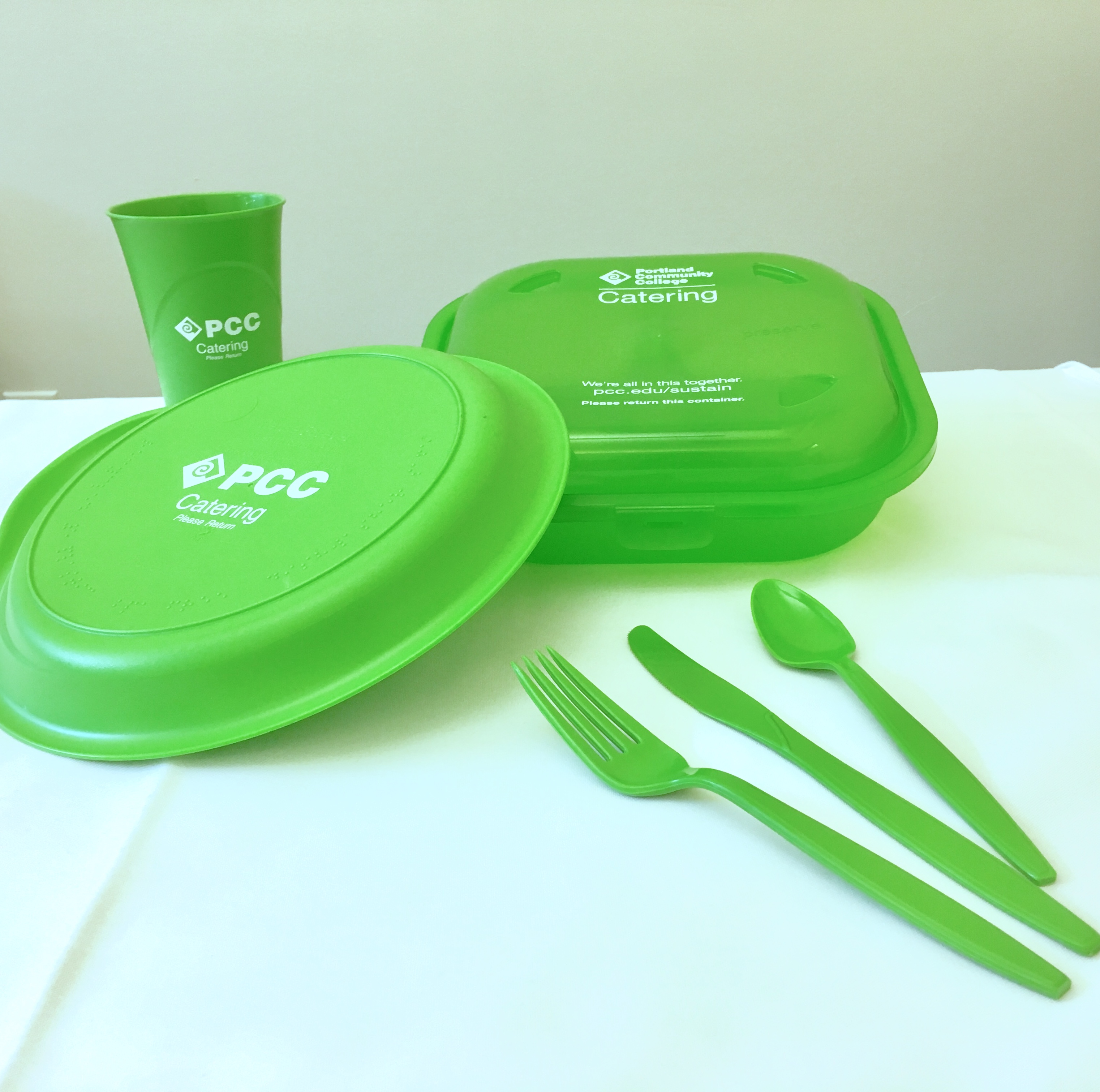 Durable recycled serviceware for catering at PCC