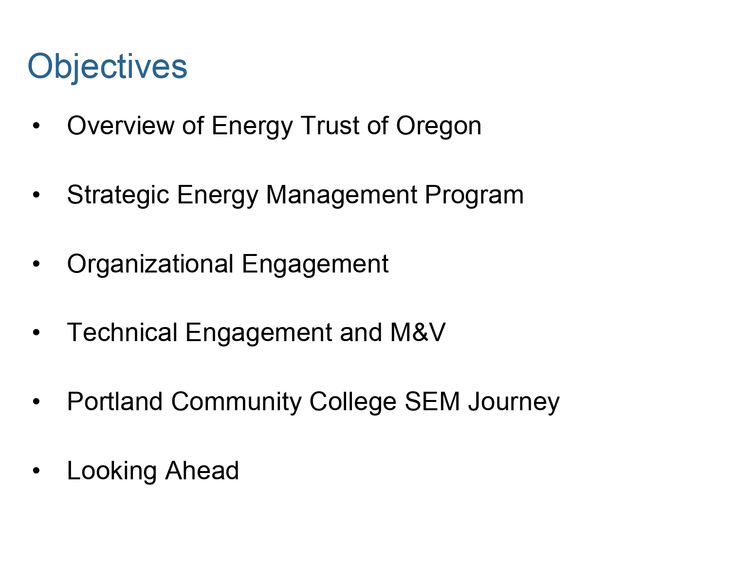 PCC Objectives from PCC Energy Plan