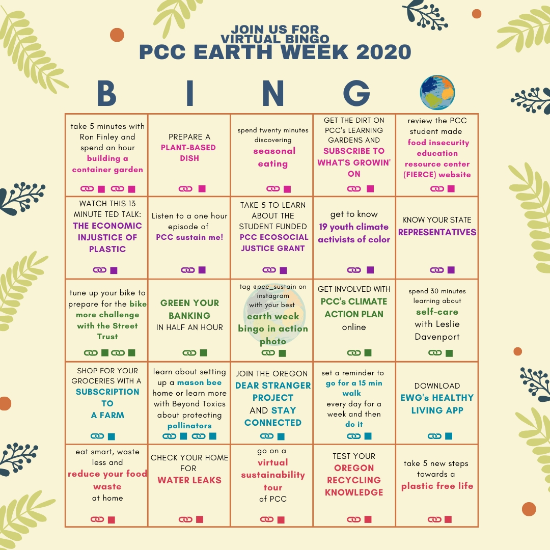 PCC Earth Week Bingo