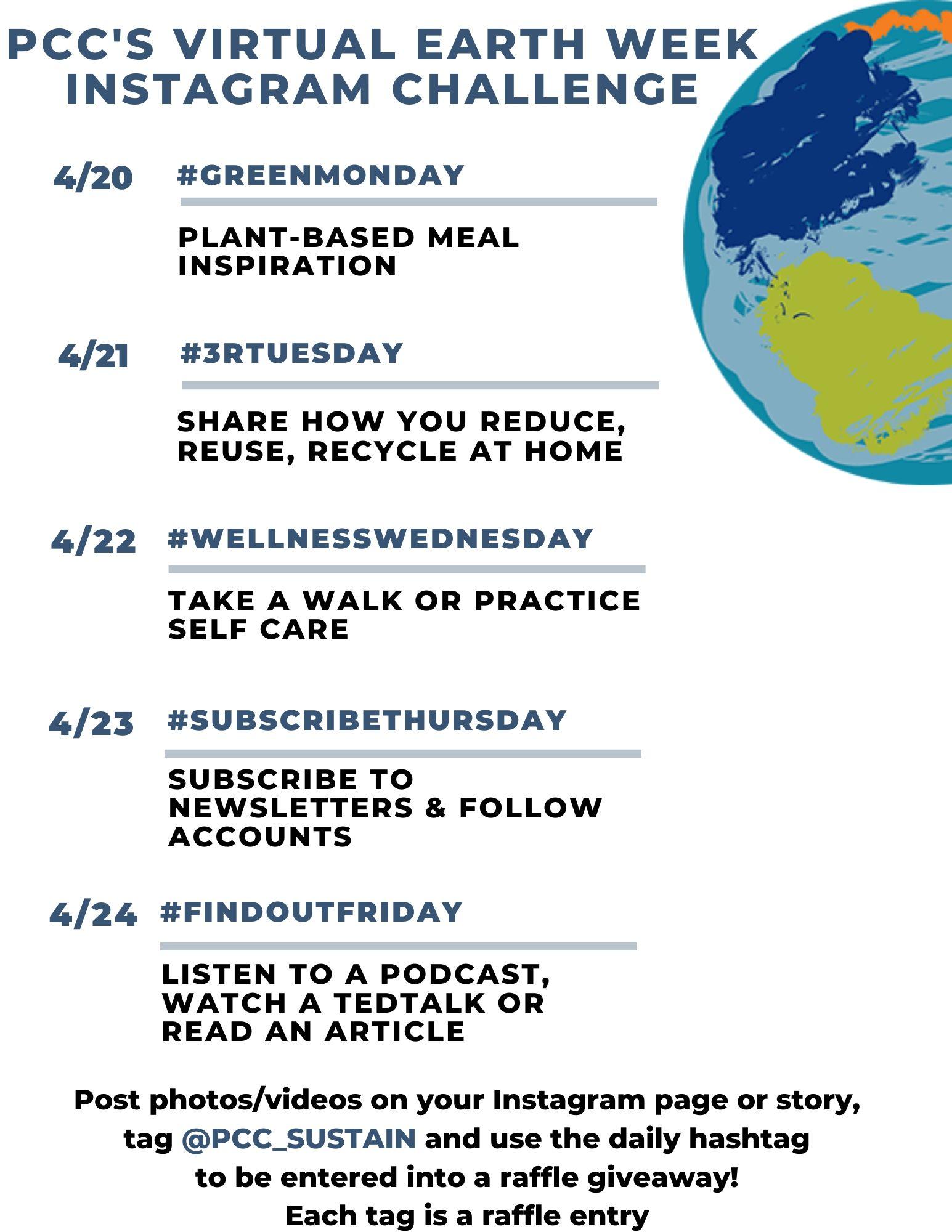 Earth Week Social Media Hashtag Calendar