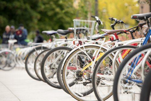 Row of bikes on campus